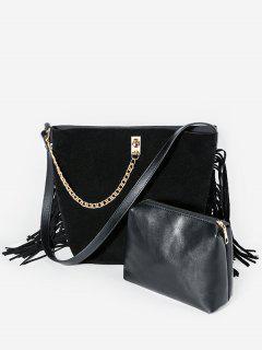 Chain Tassel Decor Shoulder Bag Set - Black