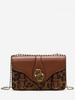 Leopard Square PU Crossbody Bag - Brown