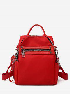 Solid Zipper Casual Backpack - Red