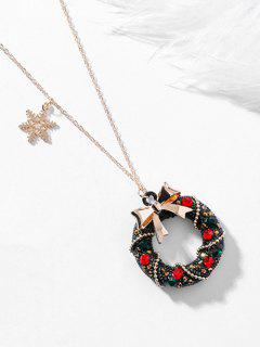 Bowknot Retro Christmas Wreath Necklace - Red