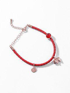 Metal Pig Shape Pendant Lucky Bracelet - Red