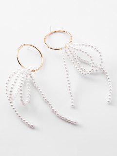 Pearl Strand Tassel Big Hoop Earrings - White
