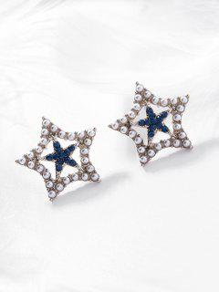Pearl Rhinestone Star Shape Stud Earrings - Blue