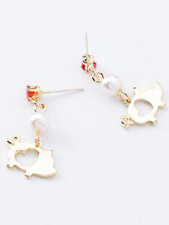 Pig Shape Heart Pattern Hollowed Stud Earrings - Gold
