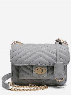Buckle Decoration Chain Design Handbag - Gray Cloud