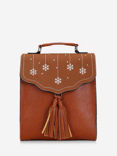 Snowflake Print Overlap Tassels Backpack - Light Brown