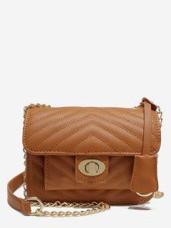 Buckle Decoration Chain Design Handbag - Brown