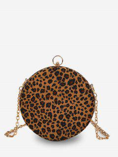 Round Leopard Mini Shoulder Bag - Brown
