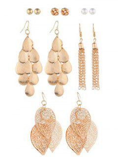 Faux Pearl Tassel Design Earrings Set - Gold