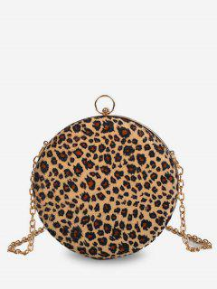 Round Leopard Mini Shoulder Bag - Light Khaki
