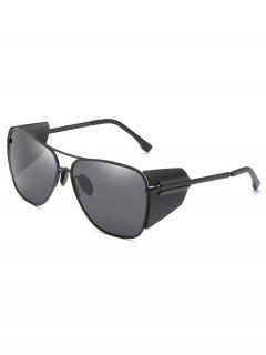 Retro Metal Frame Butterfly Outdoors Sunglasses - Black Eel