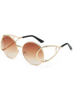 Stylish Geometric Shape Metal Frame Sunglasses - Brown