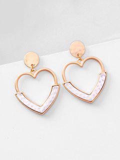 Metal Hollowed Heart Shape Stud Earrings - White