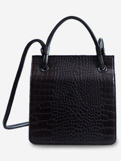 Adjustable Shoulder Strap Cover Pattern Tote Bag - Black