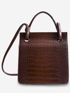 Adjustable Shoulder Strap Cover Pattern Tote Bag - Light Brown