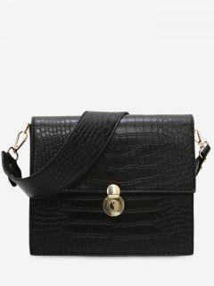 Pattern Wide Strap Shoulder Bag - Black
