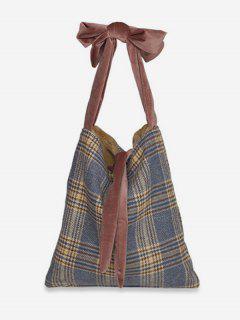 Plaid Print Adjustable Handbag - Blue Gray