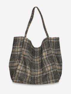 Plaid Print Large Capacity Tote Bag - Gray