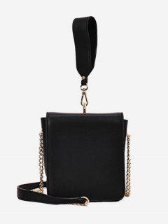 Wide Handle Chain Crossbody Bag - Black