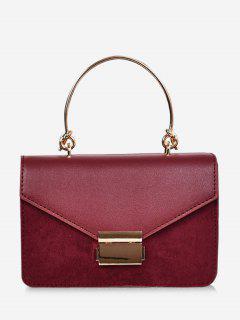 Contrast Color Top Handle Crossbody Bag - Red