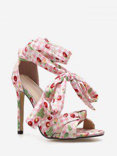 Printed Ankle Wrap Stiletto Heel Sandals - Watermelon Pink Eu 38