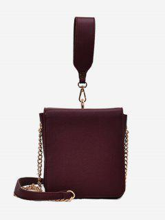 Wide Handle Chain Crossbody Bag - Red
