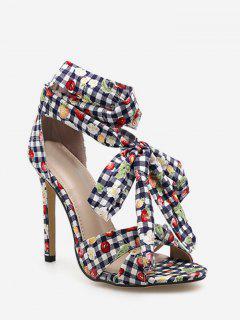 Printed Ankle Wrap Stiletto Heel Sandals - Black Eu 37