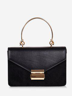 Contrast Color Top Handle Crossbody Bag - Black