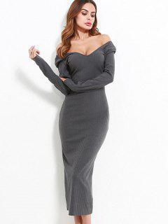 Off Shoulder Long Sleeves Knit Dress - Gray S