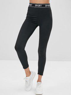 ZAFUL Letter Patched High Waist Leggings - Black S