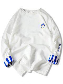 Sweat-shirt Col Rond à Broderies Et à Manches Longues - Blanc M