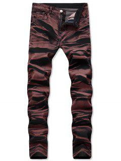 Casual Long Straight Denim Pants - Blood Red 40