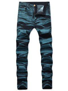 Long Straight Zipper Fly Jeans - Peacock Blue 34