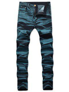 Jeans Rectos Con Cremallera Recta - Azul Eléctrico 40