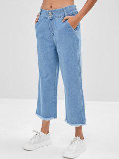 Frayed Hem Wide Leg Jeans - Denim Blue Xs