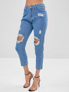 Distressed Straight Leg Jeans - Denim Blue Xl