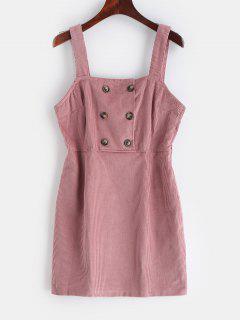 Robe Superposée Embellie De Bouton En Velours Côtelé - Rose  S