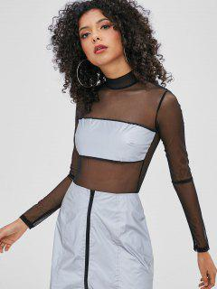 See Thru Mesh Bodysuit - Black L