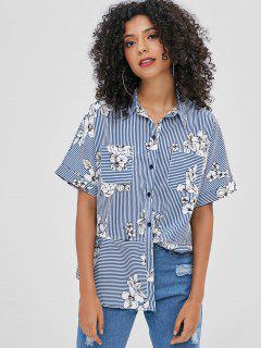 Raglan Sleeve Striped Flower Blouse - Multi-a M