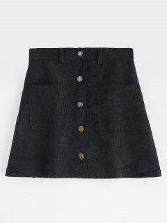Minifalda De Pana Con Botones En Los Bolsillos - Negro M