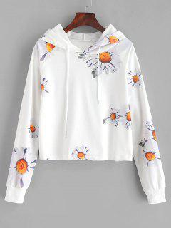 Daisy Print Cropped Hoodie - White S