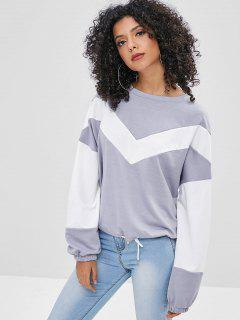 Drawstring Hem Two Tone Sweatshirt - Multi-a Xl