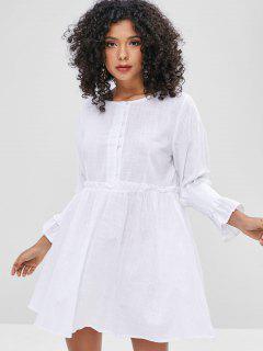 Half-button Shirred Smock Dress - White M