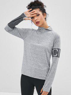 Camiseta De La Letra De La Cremallera Con La Sisa - Gris L