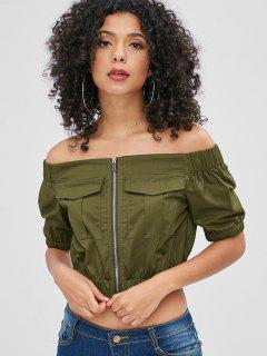 Schulterfrei Zip Up Crop Bluse - Armeegrün L