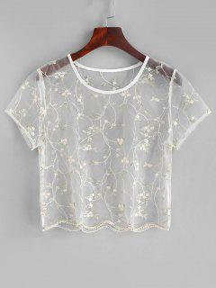 ZAFUL Floral Bordado Sheul Tulle Top - Transparente S