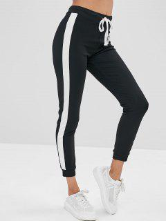 Color Block High Waisted Skinny Pants - Black M