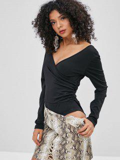 Surplice Plunge Backless Thong Bodysuit - Black L