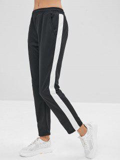 Color Block Pocket Pencil Pants - Black L