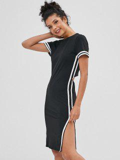 Striped Side Slit Cut Out Tee Dress - Black M